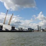 The O2 and Canary Wharf from the Thames