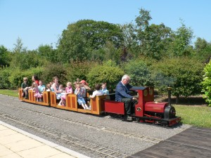 Miniature steam railway in cottage grounds